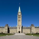Wide shot of Centre Block of Parliament Hill