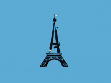 Illustration of the Eiffel Tower against a plain background.