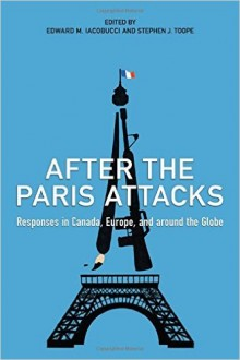 Illustration of the Eiffel Tower as part of the cover art for the After the Paris Attacks book.