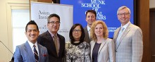 From left to right: Justin Poy, Joseph Wong, Eileen Lam, Joshua Barker, Cheryl Regehr, Stephen Toope.
