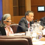 From left to right, Naomi Alboim, Ratna Omidvar, Randall Hansen and Brian Stewart sit at a panel in a conference room.