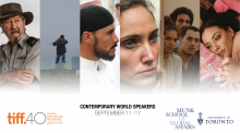 A screenshot from each movie side by side. From left to right: an older man bracing against a cab, a young man holding a rifle, a Middle Eastern Man staring to his right, a young woman crying, a group of youth peering from behind a wall, a group of young women napping on a bed.