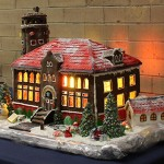 A close up of the Munk School gingerbread house