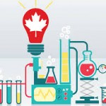 An illustrations of beakers and a lightbulb with a maple leaf inside