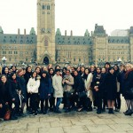 A group of students pose at Parliament Hill