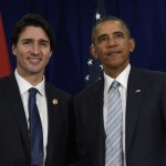 President Barack Obama, right, and Canadaís Prime Minister Justin Trudeau, left, stand to shake hands following their bilateral meeting at the Asia-Pacific Economic Cooperation summit in Manila, Philippines, Thursday, Nov. 19, 2015. (AP Photo/Susan Walsh)