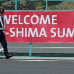 ISE, JAPAN - MAY 05:  A police officer stands guard front of the G7 Ise-shima summit banner on May 5, 2016 in Ise, Japan. The G7 summit will be held in Ise-Shima, Mie prefecture on May 26 and 27, 2016.  (Photo by Buddhika Weerasinghe/Getty Images)