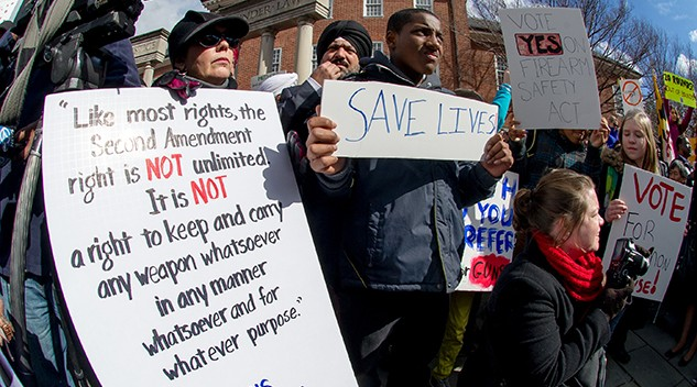 Gun control advocates gather at a rally to prevent gun violence in Annapolis, Maryland. Photo: Jay Baker via Flickr.