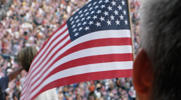 U.S. Democratic National Convention and American flag