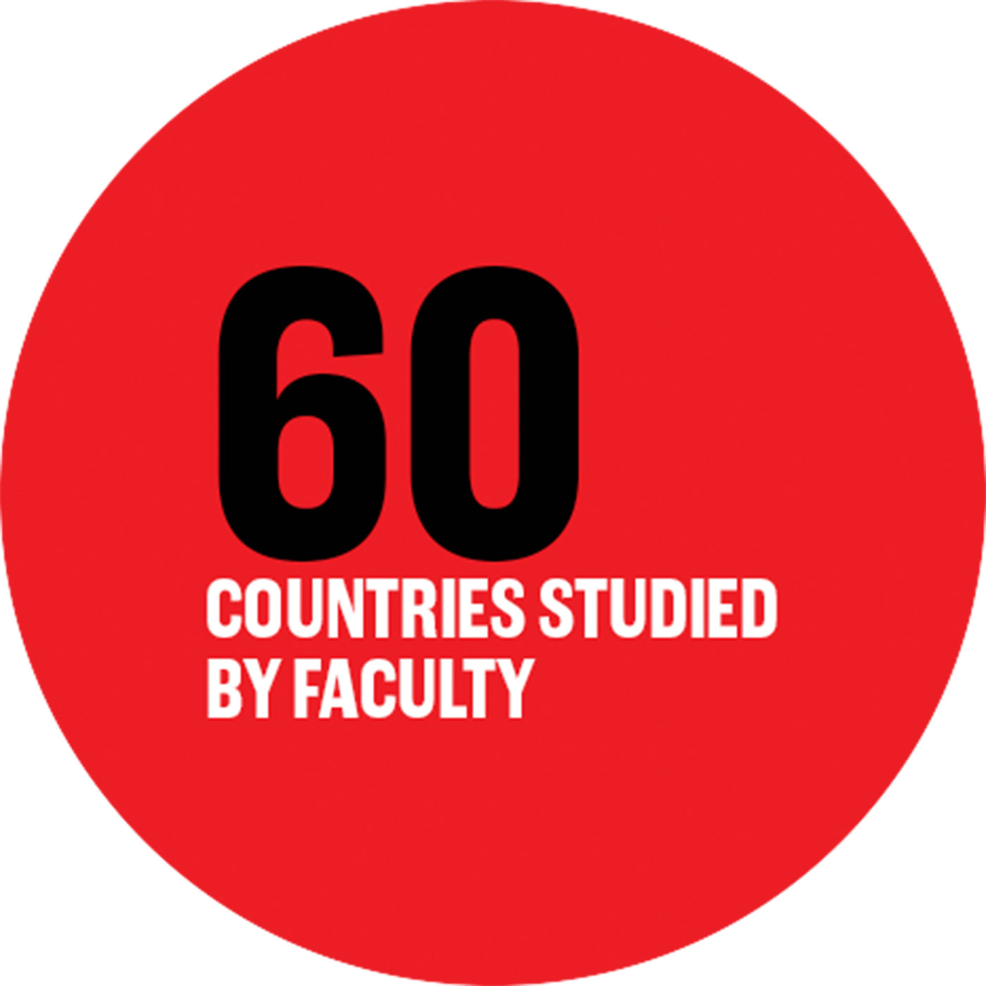 60 countries studied by faculty