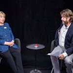 Hillary Clinton and Zach Galifianakis in a television comedy sketch