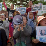 Cambodian land rights activists at a protest.