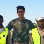 Adam Sheikh, centre, spent the summer with colleagues in Qatar testing a cooling vest safety intervention. Photo: Ouraegis.com