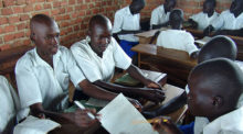 Students in class at a high school in Uganda