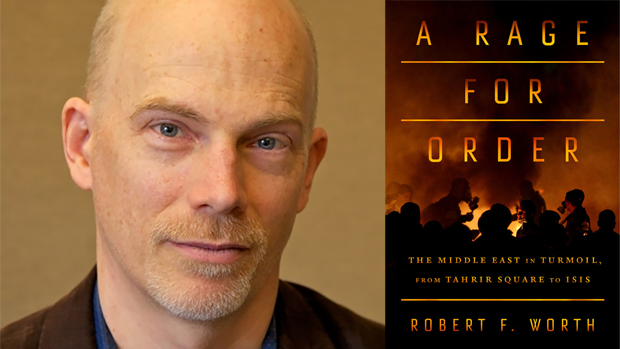 Robert Worth next to the cover for A Rage for Order