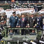 President Enrique Peña Nieto at the Mexican Independence Day parade in Mexico City.