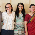 L-R: Kirstyn Koswin, Nikhil Pandey, Carol Drumm, Shruti Sardesai, Sneha Banerjee (the team's research assistant), and Cheryl Young pose for a group photo before beginning the first day of interviews