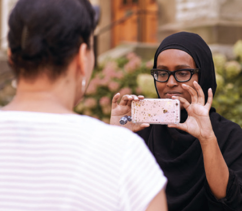 Global Journalism Fellow Aala Abdullahi (right) interviewing her Fellow colleague Stephanie Robinson