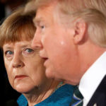 Angela Merkel glares at Donald Trump