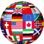 A globe made up of various flags