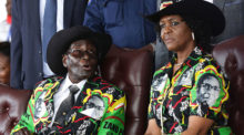 Zimbabwean President Robert Mugabe and his wife Grace Mugabe attend the celebration of Mugabe's 93rd birthday.