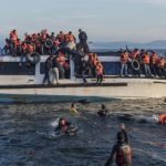 Refugees arrive by boat from Turkey to Skala Sykamias, Lesbos Island, Greece.