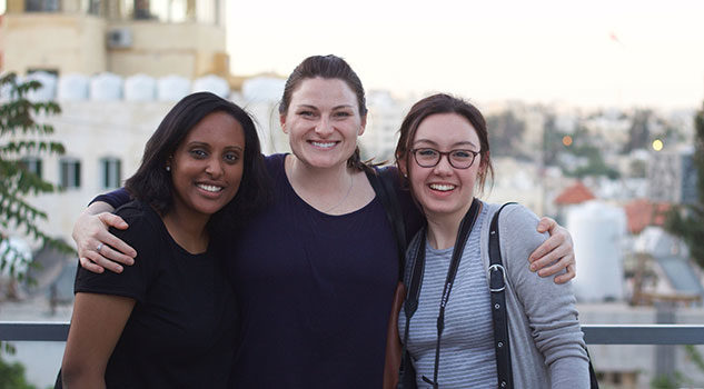 Reach Project students Elizabeth Assefa, Marin MacLeod and Natalie Boychuk on their research trip to Jordan.