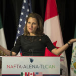 Canadian Foreign Affairs Minister Chrystia Freeland at the closing of the NAFTA meetings in Montreal on Monday.