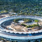 Aerial photo of Apple new campus building