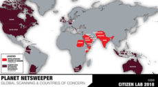 Map highlighting the ten countries using Netsweeper to censor the internet.