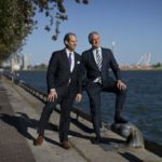 Former CEO of Waterfront Toronto Will Fleissig and CEO of Sidewalk Labs Dan Doctoroff pose on Lake Ontario.