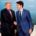 Donald Trump and Justin Trudeau shaking hands