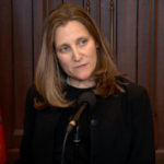 Chrystia Freeland speaks at a press conferene