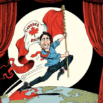 "Cartoon of Justin Trudeau skipping over the Earth, holding a Canadian flag that says ""Canada's back"""