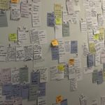 "Post-it notes cover a wall labeled ""feedback"" during a forum hosted by Google affiliate Sidewalk Labs in Toronto"