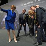 Scottish National Party leader Nicola Sturgeon takes a selfie with her newly elected MPs
