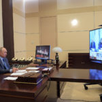Russian President Vladimir Putin chairs a videoconference meeting at the Novo-Ogaryovo state residence outside Moscow