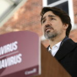 Justin Trudeau gives a national address on coronavirus outside of his home