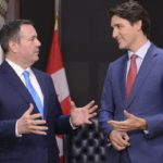 Alberta Premier Jason Kenney speaks with Prime Minister Justin Trudeau