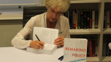 Carolyn Tuohy signs copies of Remaking Policy at her book launch
