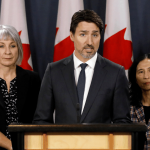 Health Minister Patty Hajdu, Prime Minister Justin Trudeau and Chief Public Health Officer Dr. Theresa Tam
