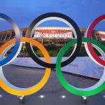 Olympic rings stand in front of the Olympic Stadium in Japan