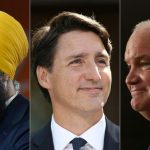Composite photo of Jagmeet Singh, Justin Trudeau and Erin O'Toole