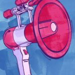 An illustration of a megaphone with a cope attached